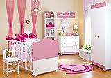Babyzimmer Kinderzimmer komplett Möbel-Set Prinzessin Rosa Weiß Kinderbett Babybett Wickelkommode Kleiderschrank (Rosa, Babyzimmer/Kinderzimmer Komplett Set 4-tlg)