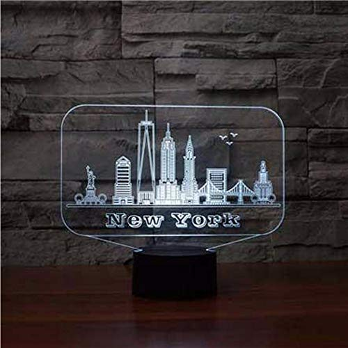 Qwerph 3D Edificio De Nueva York Led Luz De La Noche 7 Colores Lámpara De Mesa Lámpara De Mesa Lámpara Luminaria Regalos Conmemorativos Bebé Sueño Iluminación Decoración