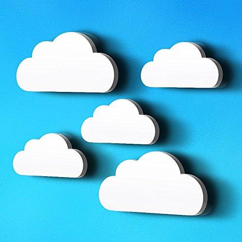 luvel (M6)- 5-er Set Wolken mit 3D-EFFEKT in TOP Qualität als Kinderzimmer Deko, Wandtattoo Kinderzimmer, 19 x 10cm und 14 x 7 cm, 10mm dicker Kunststoff (weiß)