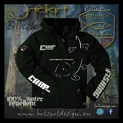 Carpfishing Jacke wasserdicht, schwarz Gr. L - Jacke für Karpfenangler (Boys Jacke Regen Wasserdichte)