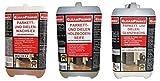 3 x 2 Liter Parkett und Dielen Pflegeset, bestehend aus 2 Liter Glanzwachs, 2 Liter Holzbodenseife, 2 Liter Wachs-Ex, Detailinfos: WACHS-EX Wachsentferner Schichten Schichtenlöser Schichtenentferner flüssig Wachsreiniger Wachs-Reiniger Cleaner Entferner Grundreiniger, Entfernung alter Schichten wässriger Pflegemittel auf Holzböden, ohne Lösemittel, für geölte und gewachste Oberflächen, Grundreinigung, Bauabschlussreinigung, Parkett, Parkettboden, Parkettböden, Dielenböden, Dielenboden, Korkboden, Korkböden, Entfernung von Pflegeschichten auf geölten, versiegelten, gewachsten Oberflächen, für empfindliche Beläge: Linoleum, Gummi / PARKETTWACHS DIELENWACHS Glanzwachs mit Carnaubawachs Glanzboden Versiegelung Versiegelungsdispersion wasserfeste Bodenbeläge, ohne Lösungsmittel, ideale Wischpflege, Bohnern, Bohnerglanz, Pflegemittel, Fußbodenreiniger, versiegeln, wachsen, ideal in Museen, Bibliotheken, Ausstellungsräume, Parkettglanz, Dielenglanz, flüssiges Bohnerwachs, Glanzwachs, Wax, Wachs, für die Diele, Landhausdiele, für Treppen und Fensterbänke geeignet, Bodenwachs, Wischwachs, Wax, Spezial, Pflege, Pflegewachs / HOLZBODENSEIFE Holzseife Holzboden Seife Reiniger Reinigungsmittel, Wischpflege, Basis natürlicher Öle + Seifen, hinterlässt antistatischen Pflegefilm, seidigen Glanz, schonende rückfettende Reinigung aller geölten, gewachsten oder seifenbehandelten Holzböden, Reinigung + Pflege von empfindlichen Weichholz- und Hartholzflächen