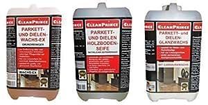 3 x 2 Litro Set per Pulizia e Manutenzione Parquet, 2x Cera lucida, 2x Cura del Pavimento in legno, per superfici oliate/cerate, per Parquet, Linoleum, Sughero, Protettivo, Antistatico