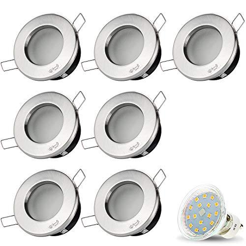 7er Set VENEDIG RUND (Matt-Chrom) IP44 230V LED SMD 4W (300lm) Warmweiß Decken Einbaustrahler Einbauspots Deckenspots f. Badezimmer Feuchtraum Außenbereich inkl. GU10 Fassung mit 15cm Anschlusskabel