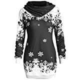 Soupliebe Frauen Weihnachten 3D Party Schneeflocke Lover Print Top Hoodie Sweatshirt Pullover Kapuzen Langarmshirt Sweatjacke Kapuzenpullover