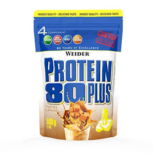 Karamell-protein (WEIDER Protein 80 Plus Eiweißpulver, Toffee-Karamell, Low-Carb, Mehrkomponenten Casein Whey Mix für Proteinshakes, 500g)