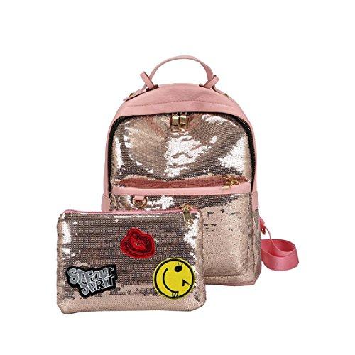 Moonuy,Frauen Rucksack, 2018 Mode Bling Pailletten Handtasche Schultertasche Schulrucksäcke für Frauen Hohe Kapazität Reißverschluss für Mädchen, weibliche Rucksack mit Rahmen (Rosa)