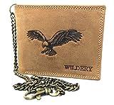 Wildery ® Herren Leder Geldbörse mit Kette im Querformat Braun mit Prägung Elegante Brieftasche Herren Portemonnaie Voll-Leder Börse Portmonee