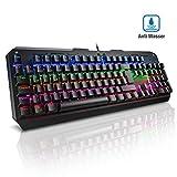 Mechanische Tastatur Gaming(QWERTZ), VicTsing blaue Switsches 7 Farben LED-Hintergrundbeleuchtung, Anti-Ghosting 105-Taste Mechanical Keyboard mit USB-Kabel, Programmierbar Multi-Key für Gamer