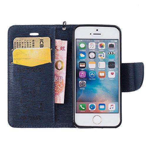 Coque iPhone SE, Coque iPhone 5S, SpiritSun Etui en PU Cuir Portefeuille Coque pour Apple iPhone SE / 5 / 5S Mode Ours Motif Couverture Case avec Fonction Support Stand - Marron Bleu Marin