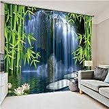 WKJHDFGB Tende per Finestra Oscuranti 3D per Soggiorno Camera da Letto Ufficio Tende Cortinas Rideaux Dimensioni su Misura Foglia di bambù Cascata 215X260Cm