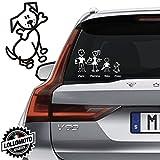 Cane Con Osso Vetro Auto Famiglia StickersFamily Stickers Family Decal - Bianco Opa
