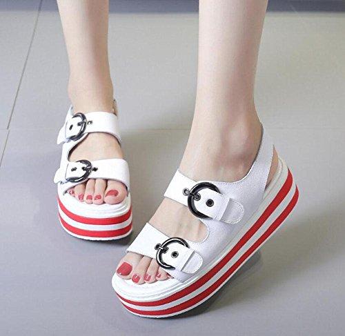 Frauen Open Toe Sandalen Sommer Platform Flip Flops Dicke Leder weiblichen Gürtel Gürtelschnalle Streifen Bottom Mid Heel römischen Schuhe White