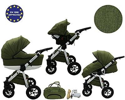 Quero - 3 in 1 Reisesystem einschließlich Kinderwagen mit schwenkbaren Rädern, Kinderautositz, Buggy und Zubehör (3 in 1 Reisesystem, Leinenmaterial Nr. 13)