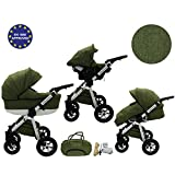 Quero, 3-in-1 Travel System with Baby Pram, Car Seat, Pushchair & Accessories (linen material No. 13)