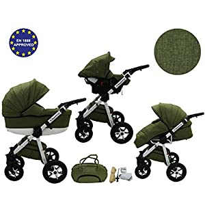 Quero, 3-in-1 Travel System with Baby Pram, Car Seat, Pushchair & Accessories (linen material No. 13)   3