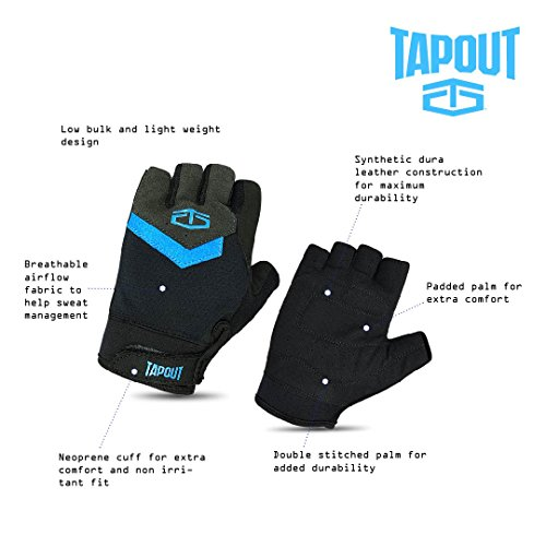 TapouT-Weightlifting-Fitness-Gym-Gloves-Ultralight-Low-Bulk-Dura-Leather-Padded-Reinforced-Palm-Large