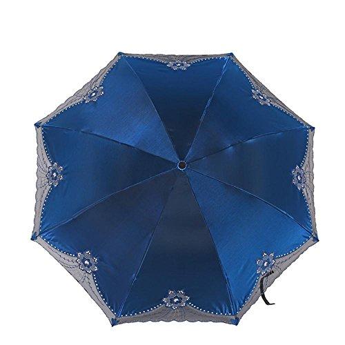 ZMZX* ombrello femmina autentica Super UV ricamo parasole ombrello di vinile , 4# Blu acqua