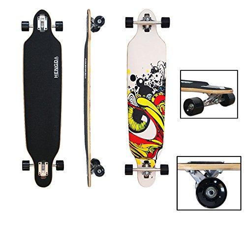 VINGO Skater Longboard Street Freeride Longboard (Dita arancione longboard)