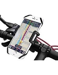Support Vélo du Guidon - Kasos Support Universel Téléphone Rotatif à 360 Bracelet en Caoutchouc pour Vélo/ Moto Réglable Compatible avec iPhone 7/7 Plus/SE/6S/6S Plus/6/5S, Galaxy S7/S6/S5, GPS,etc.