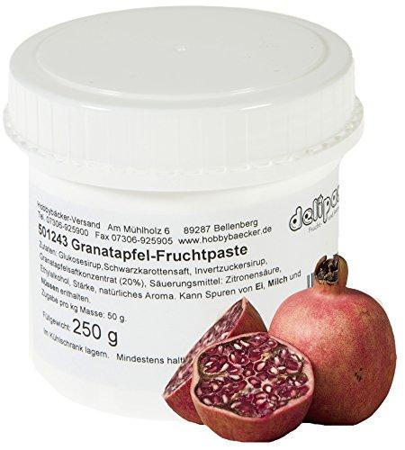 Hobbybäcker Granatapfel-Fruchtpaste ► Zum Verfeinern von Eis, Pralinen, Desserts & Tortencremes, Herb-Süßes Aroma, 250g