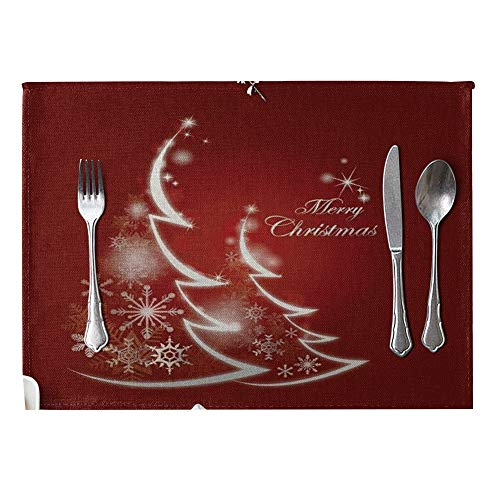 DERKOLY Christmas Pattern Linen Heat Insulation Mat Placemat Kitchen Dining Table Decor 1#