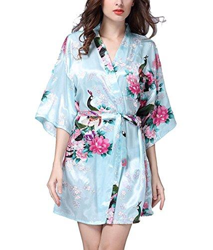 Hammia Damen Morgenmantel Kimono Satin Kurz Nachtwäsche Bademantel Robe Schlafanzug Mit Peacock (L(UK 12-14,EU 42-44), Light Blue)