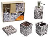 Easily Set bagno 4 pezzi con dispenser per sapone liquido bicchiere porta saponetta porta spazzolini in ceramica effetto pietra marrone G43