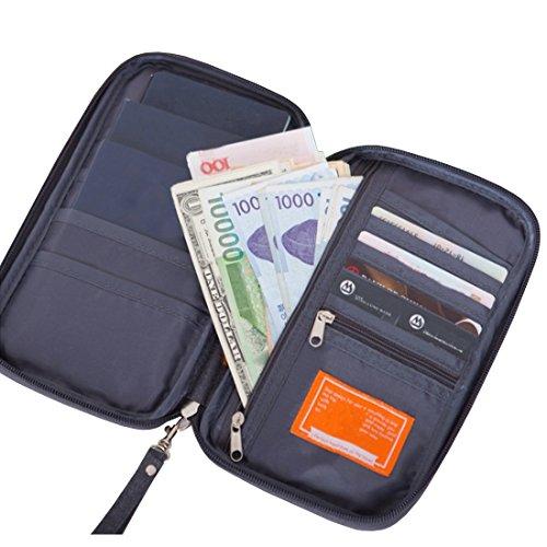 Taslar(TM) 3 Passport Holder, Passport Wallet, Travel Wallet Envelope Flip Cover Case Pouch for Men & Women - Grey