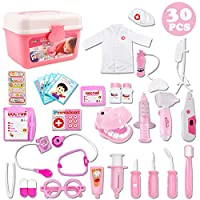 deAO Kids Role Play Dentist, Surgeon & Vet Medical 30 Piece Kit with Light and Sound Including Electronic Stethoscope, Lab Coat Cap & Play Medical Equipment for Children Boys and Girls (Pink)