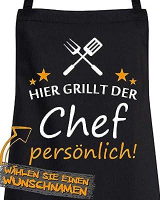 Comedy Grill - HIER GRILLT DER Chef PERSÖNLICH - Personalisierbare Schürze - Kochschürze Männer - Latzschürze in Schwarz - Grillzubehör - für Garten