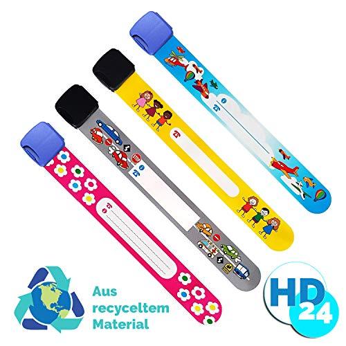 Kinder Notfall-Armband | flexibel, wasserfest, wiederverwendbar | Kugelschreiber beschreibbar| HomeDelivery24 Sicherheits Armband für Kinder 4er Set