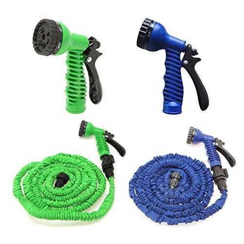 100FT erweiterbar Garten Wasserschlauch mit 7Funktion Spray Gun erweiterbar flexibel Magic Schlauch Tropf-leicht Einfache Aufbewahrung 100FT zu 175ft Blau/Grün Farbe 175 FT