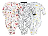 SIBINULO Baby Boys Baby Girls Sleepsuit with Feet Mix -Sizes 0-9 Months- Pack of 3