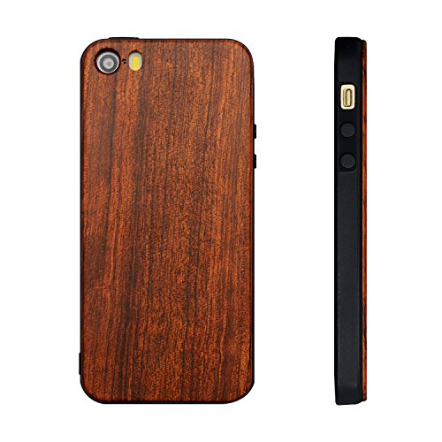 Holzhülle iPhone SE/ 5S/ 5 - Ultraslim Handyhülle Echtem Holz Schutz Hülle Schale mit PC Bumper Hart Cover Case Etui für Apple iPhone 5 5S SE Smartphone (Kirschholz) Rosenholz