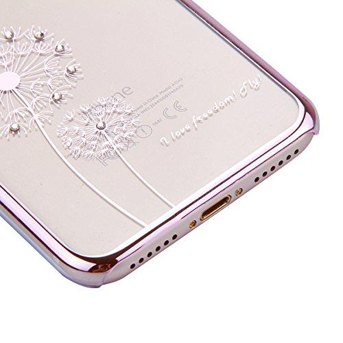 iPhone 7 Custodia Rigida,iPhone 7 Cover Trasparente con Disegno,Felfy iPhone 7 4.7 pollice Custodia Cover Case Bumper Caso Trasparente Luxury Belle Rose Gold Farfalla Brillantini Glitter Bling Strass  C9