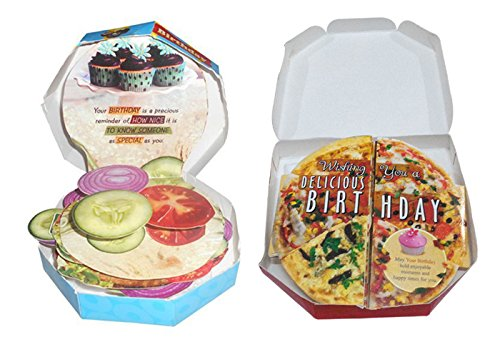 Saugat Traders Pizza & Burger Themed Birthday Greeting Card