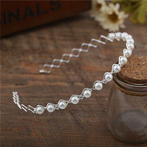 Gemini_mall Perlen-Haarband, geeignet als Hochzeits-Haarschmuck, elegantes Design, Kristall, Strasssteine
