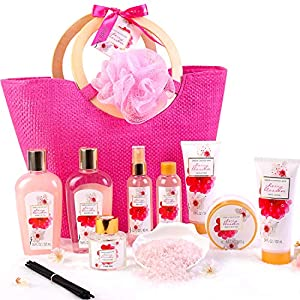 Green Canyon Spa Bath Gift Set for Her in Pink Tote Bag 11 Pcs Spa Gift Baskets Cherry Blossom Collective Birthday Gift for Women