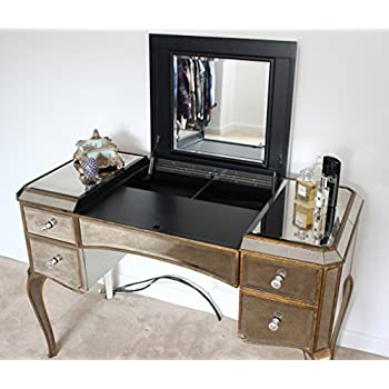 Home Stuff Plus Antique Victorian Dressing Table With Crystal Handles With Lift Up Mirror