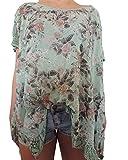 15 Verschiedene Farben Damen Blusen Shirt mit Blumenmuster Gr. 46 48 50 52 (Mint)