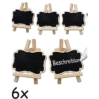 HOMETOOLS.EU® - 6x Klassische Tisch Tafel Holz Mini Tafel beschreibbar | Buffet, Party, Feier, Hochzeit, Deko | Vintage Landhaus, Tafel, 6er Set