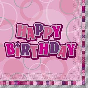 """Unique Party Paquete de 16 servilletas de papel""""Happy Birthday"""", Color rosa Feliz Cumpleaños 28432"""