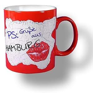 6 Stück- Porzellan- Tasse, Kaffeepott, Becher, maritim - Kußmund Gruß aus Hamburg - deutsches Produktdesign
