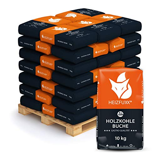 PALIGO Grillkohle Holzkohle Buchenholzkohle Hartholz Buche BBQ Gastro Kohle Restaurant Steakhouse Grill Smoker 10kg x 36 Sack 360kg / 1 Palette Heizfuxx (Paletten-bbq-grill)