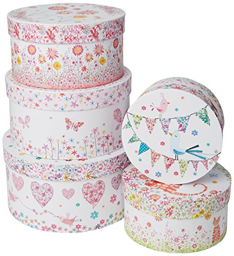Robert Frederick 5 Round Storage Box Set - Daisy Patch Cuori, Colori Assortiti