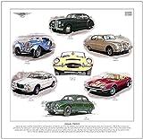 goldenera Jaguar Classics Print - SS100, XJ6, MkI, E-Type, MkVII, S-Type & XJS