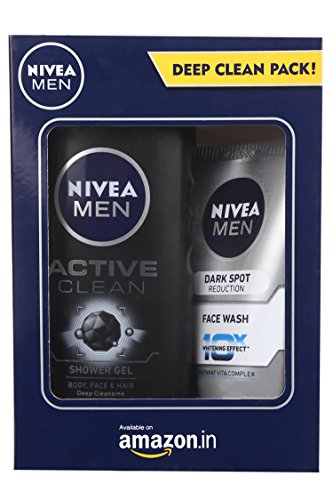 Nivea Men Dark Spot Reduction Facewash, 100ml with Active Clean Shower Gel, 250ml