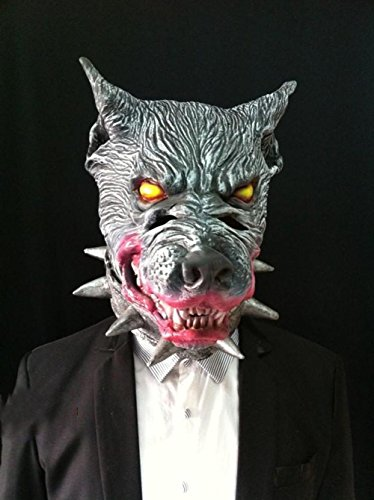 Gehirn Kostüm Öffnen (Halloween Wolf Hundeschablone Tierkopf natürlicher Latex Safty Farbmalerei Simulation schaut furchtsame)