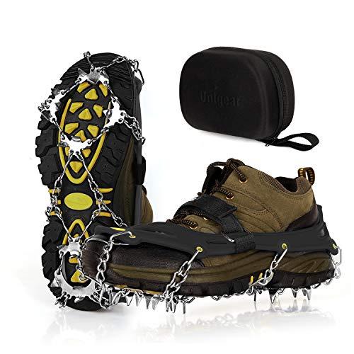 Unigear Steigeisen für Bergschuhe, mit 19 Zähnen, Grödel, Schuhkrallen, Eisspikes, Schneekette, Spikes für Schuhe Winter Outdoor -