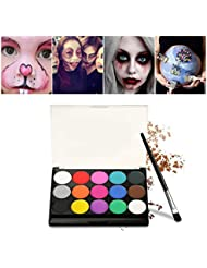 Halloween Schminke Make Up Kit, Kinderschminke Eulenspiegel 15 verschiedene Farben Profi Palette Ideal für Kinder, Parties, Bodypainting Halloween Make-up